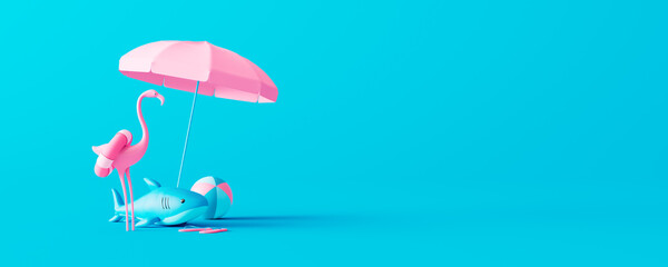 Obraz Pink flamingo and rubber shark with beach accessories on blue background. Summer vacation concept. 3D Render 3D illustration - fototapety do salonu