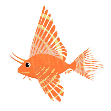 marine vector illustration of a lionfish isolated on a white background