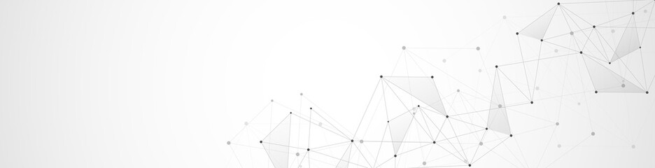 Fototapeta Website header or banner design with abstract geometric background and connecting dots and lines. Global network connection. Digital technology with plexus background and space for your text obraz