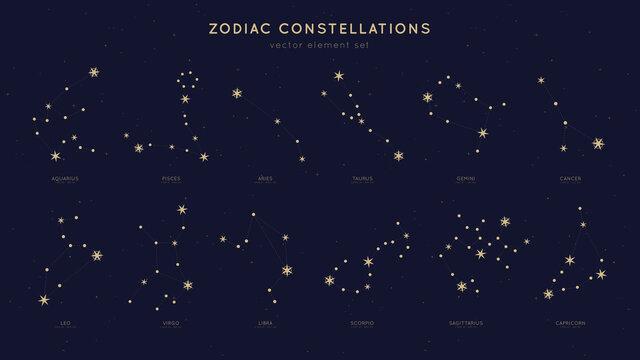 Zodiac constellations vector set