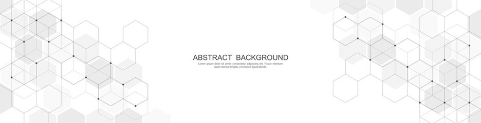 Banner design template. Abstract background with geometric shapes and hexagon pattern. Vector illustration for medicine, technology or science design