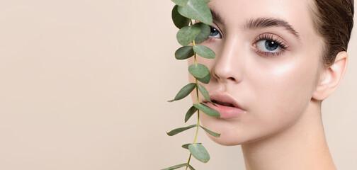 Obraz Portrait of beauty model with natural nude makeup with eucalyptu - fototapety do salonu