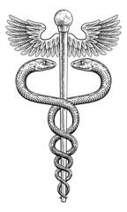 Obraz Caduceus Vintage Doctor Medical Snakes Symbol - fototapety do salonu