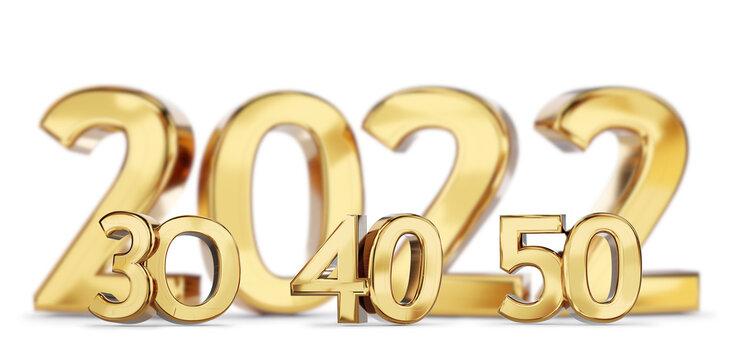 2021 and 30 40 50 golden bold letters symbol 3d-illustration