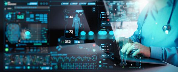 Obraz Medicine doctor working laptop computer for medical record of patient on interface. DNA.medical technology and futuristic concept.Digital healthcare and network on modern virtual screen. - fototapety do salonu