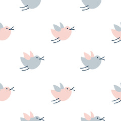 Obraz Seamless pattern with cute cartoon birds, doodle style. Hand drawn vector scandinavian illustration. Design for baby textile, wallpaper spring, web, fabric and decor - fototapety do salonu