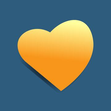 Orange heart on a gray background. Valentine's Day, love people. Decoration for postcard, banner, advertisement, notepad. Vector, illustration. Orange autumn.