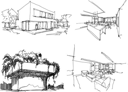 four hand drawn architectectural sketches of a modern architecture and interiors