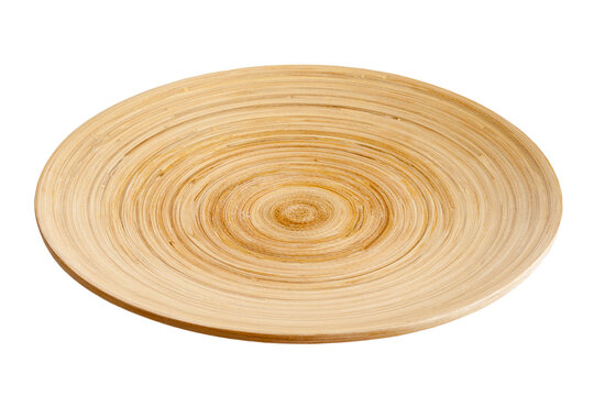 wooden plate close-up, isolated on a white background, serving and cooking, eco-friendly tableware