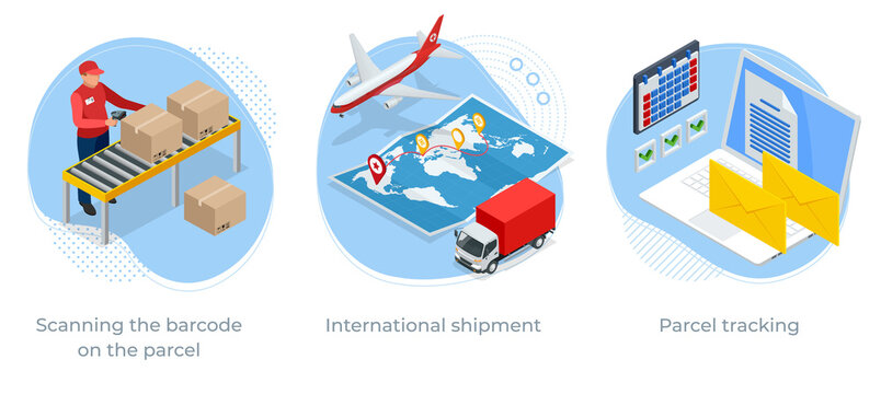 Isometric concept of Scanning the barcode on the parcel, International shipment and Parcel tracking. Post service.