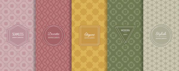 Fototapeta Vector geometric seamless patterns collection. Set of elegant colorful background swatches with modern minimal labels. Cute abstract textures. Package design. Light pastel colors, pink, yellow, green obraz