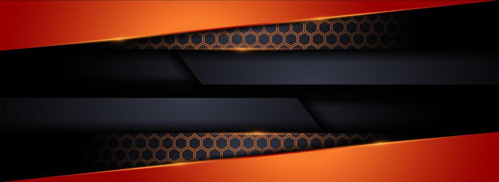 Modern Tech Dark Background with Orange Shape Element Combination.