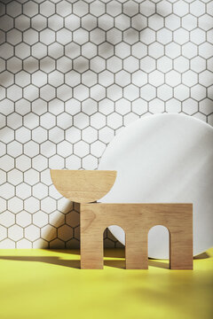 architectural shapes on hexagon background