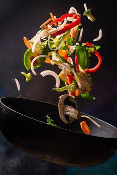 vegetables sautéed in the wok