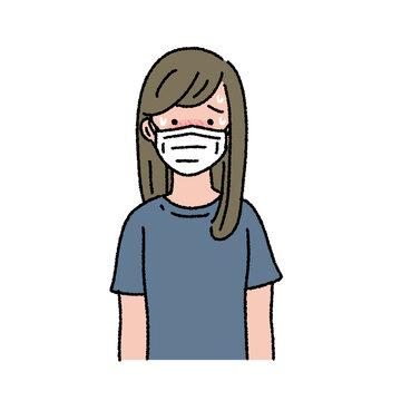 熱中症 マスクが息苦しい女性のイラスト