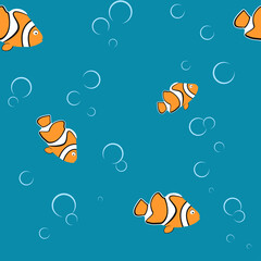Fototapeta Seamless pattern with clown fish and bubble, on the blue background. Wrap paper on Marine theme obraz