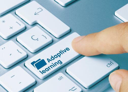 Adaptive learning - Inscription on Blue Keyboard Key.