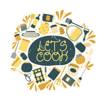 Colorful lettering slogan lets cook with cooking elements. Quote about kitchen and cooking with cute hand drawn illustration of elements of decor. Vector illustration on white background.