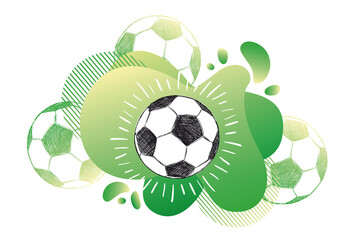 Obraz Hand drawn football, soccer ball sketch. Fluid abstract background. Banners with flowing liquid shapes. Vector - fototapety do salonu