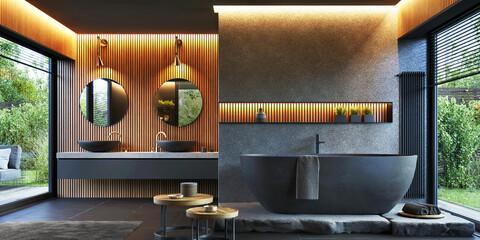 Fototapeta Bathroom interior design with double sink and matte black bathtub obraz
