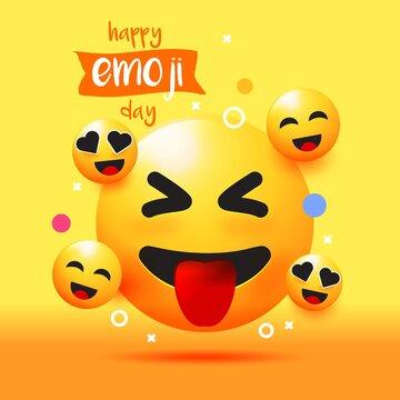 Realistic world emoji day illustration