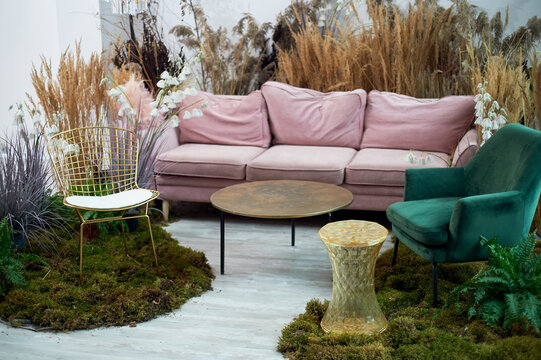 The interior is eco-style.Pink sofa with voluminous pillow. Moss on the floor, cereals, fern, pampas and dried flowers. Pastel wreaths.