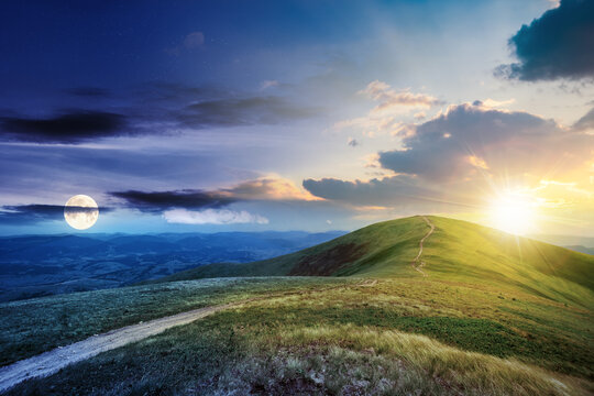 day and night time change concept above the mountain landscape in summer. path through meadow in grass on the hill with sun and moon. wonderful weather with fluffy clouds on the sky