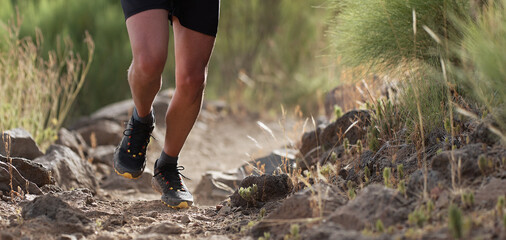 Obraz Athlete trail running in the mountains on rocky terrain, sports shoes detail - fototapety do salonu