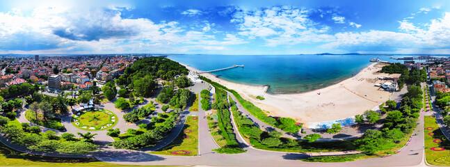 Beautiful 360 degree panoramic view of the Burgas Bay and the Burgas Sea Garden, Bulgaria - fototapety na wymiar