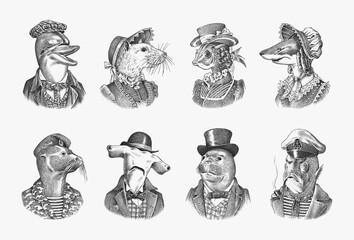 Obraz Dolphin and Great hammerhead shark. Fur seal man in military uniform. White Mouse Woman. Marine mammal gentleman. Fashion animal character. Hand drawn sketch for and T-shirts or tattoo.  - fototapety do salonu