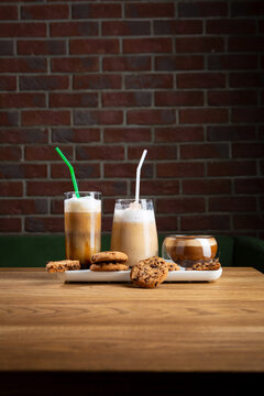 Cold coffee beverages set on wooden table