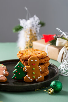 Gingerbread man and cookies for winter holiday