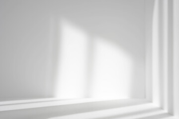 Empty white corner. Abstract studio background for product presentation. 3d room with shadows of window. Minimalistic space concept with blurred backdrop.