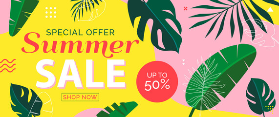 summer sale web banner design with tropical leaves and geometric shapes vector illustration