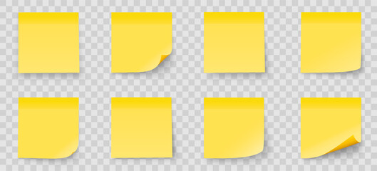 Realystic set stick note isolated on transparent background. Yellow color. Post it notes collection with shadow - stock vector.