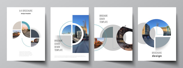Vector layout of A4 cover mockups design templates for brochure, flyer layout, booklet, cover design, book, brochure cover. Background with circle round banners. Corporate business concept template. - fototapety na wymiar