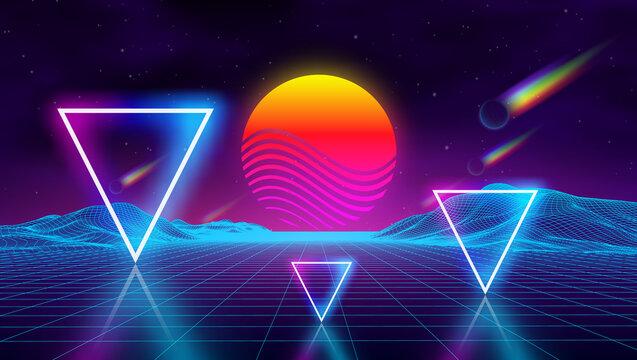 Synth wave retro city landscape background sunset 3d landscape with rainbow comets. Futuristic landscape 1980s style. Neon triangle synthwave digital wireframe landscape . Retro fashion Sci-Fi