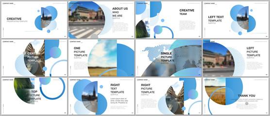Obraz Presentation design vector templates, multipurpose template for presentation slide, flyer, brochure cover design, infographic report. Simple design background with circles, geometric round shapes. - fototapety do salonu