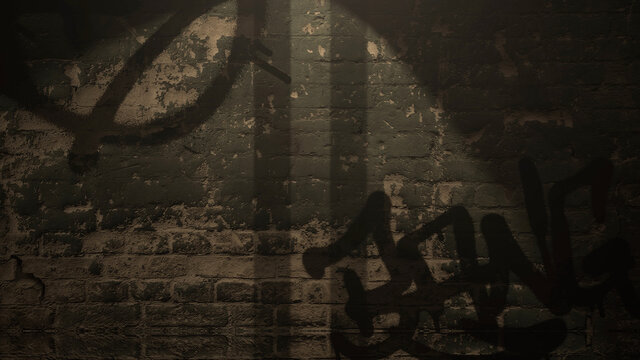 Dark alleyway of city with grunge wall of building night time