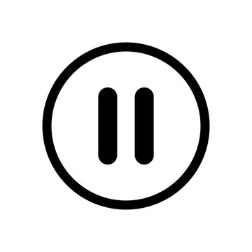 Pause button. Icon pause video. Sign stop. Symbol player. Black button isolated on white background. Circle click media, music, audio, multimedia. Graphic round flat icon. Vector illustration