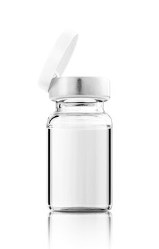 Open vaccine bottle for label design mock-up isolated on white background