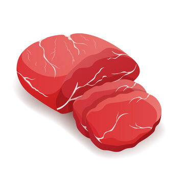 Piece of fresh raw horse meat sliced isolated on white background, vector.