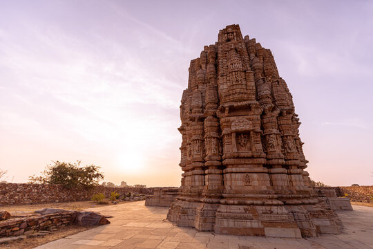 Stone carvings in the evening light at Chittorgarh fort, India