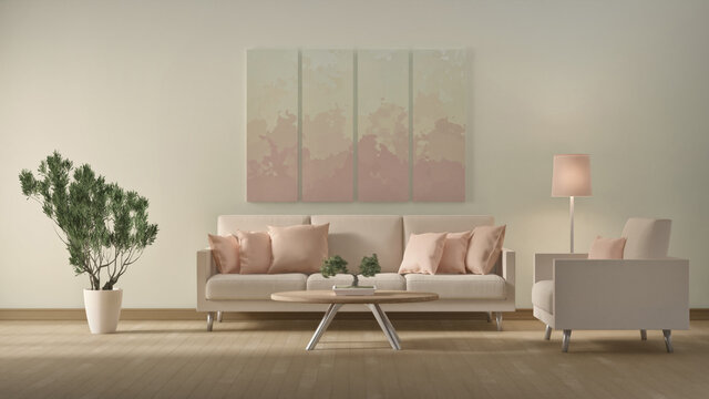3d illustration of interior design in accordance with natural colors
