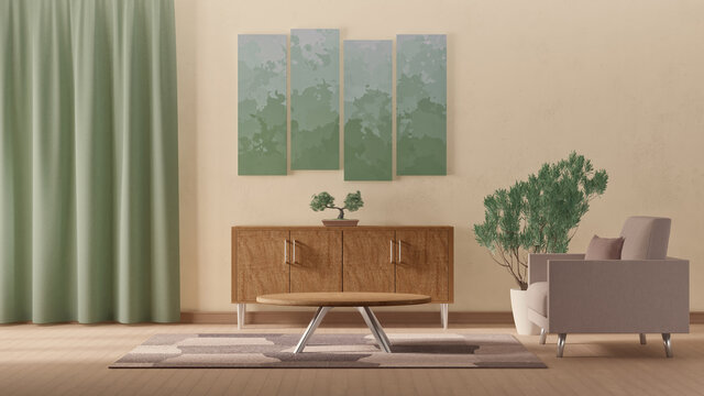 3d illustration of interior design in accordance with natural shades
