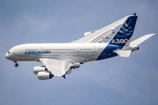 Airbus A380 double-decker passenger plane in flight during the Paris Air Show. France.