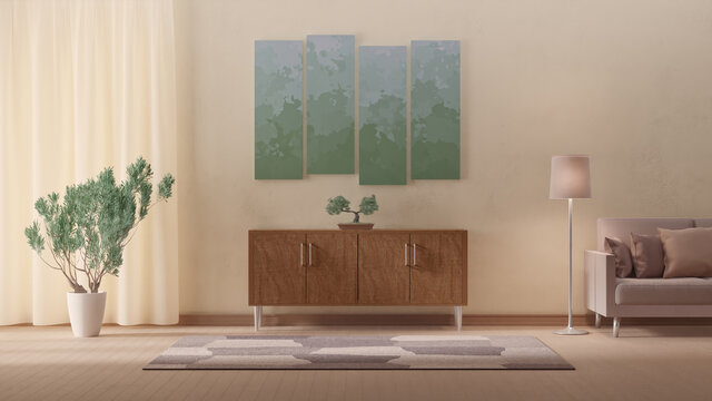 3d illustration of interior design in accordance with nature