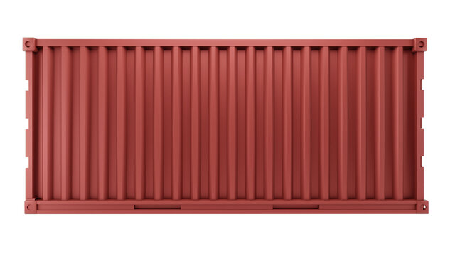 3d illustration of red box container for shipping