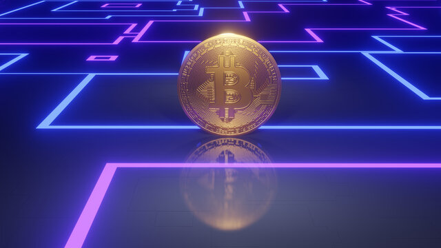 Golden bitcoin on a stylized mainboard as 3d illustration