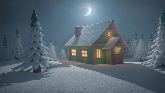 Stylized abstract advent background 3d illustration with cabin in forest